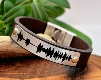 Men's Gift Leather Men's Bracelets Sound Waves Bracelet Leather Men's Personalized Bracelet For Him Bracelets Voice Recording lyrics Jewelry