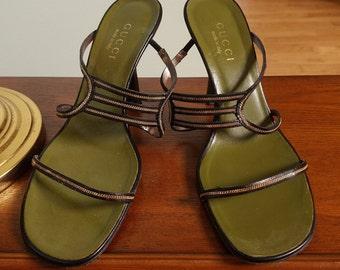 Vintage Gucci Black Leather & Gold Chain Sandals