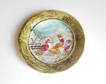 Art Nouveau Majolica Plate  WASMUEL, Belgium,  Circa 1880