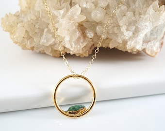 Open Circle Necklace • Gold Minimal Necklace • Raw Crystal Necklace • Layering Necklace • Birthstone Necklace • Gift for Wife • Anniversary