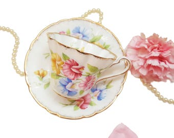 Vintage Royal Stafford Sweet Pea Teacup, Floral Tea Cup, Bone China, Shabby Chic Tea Cup, Gift for Her