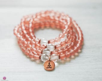 BALANCE  - Pink Quartz 108 Mala - Healing Bracelets - Meditation Mala - Wrist Mala - Yoga Bracelet - Gemstone Mala - Healing Jewelry