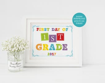 INSTANT DOWNLOAD First Day Of School, Back To School Sign, First Grade, 1st Day Of School, First Day Of 1st Grade, Printable Photo Prop