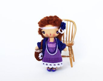 Cloth tiny doll Rag doll Soft doll Handmade doll miniature Cotton doll with Curly hair Violet purple doll Cute gift for her 4 inch doll Ava