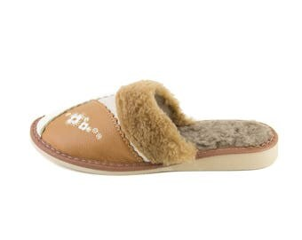 Women's Real Leather slippers white/brown!