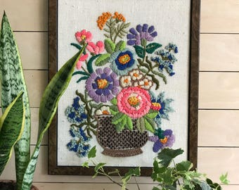 Vintage Floral crewel/ boho decor / floral embroidery / 70's framed crewel