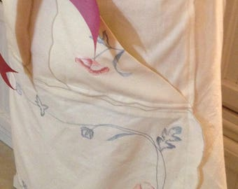 Vintage Women's full apron hand embroidered cream blue rose flowers vintage linens trim