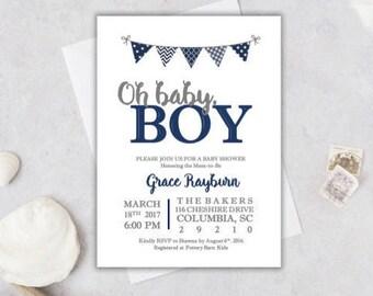 Baby Boy Shower Invitation, Navy baby shower invitation