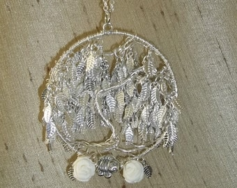 Silver leaf willow tree and earrings FREE SHIPPING!!
