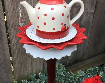 "Tea Pot Totem, Garden Art, Vintage Glass, Yard Art ""Lady Bug Tea"""