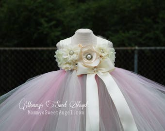 Flower girl tutu dress. Ivory tutu dress. Flower girl dress. Birthday tutu dress. Pageant tutu. More colors available.