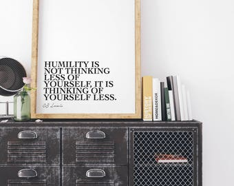 Humility quote, CS Lewis, Printable, Monochrome, Minimalist, Scandi, Graphic Design, Poster, Wall Art, Modern, Home Decor, Humble, Digital