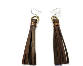 Leather Earrings, Tassle Earrings, Dark Brown Leather Tassle, Leather Tassel Earrings, Dark Brown Tassel Earrings, Leather Fringe Earrings