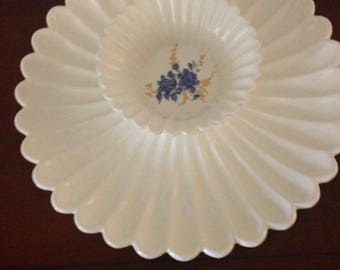 Round Serving Platter With Bowl, Platter and Bowl,  Serving Platter, Round Serving Platter, Vintage Serving Platter, White Platter