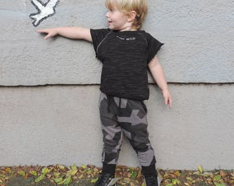 Camo Pants Toddler to 10 Years – Black Camo Joggers for Boys or Girls - Toddler Boy Cool Outfit  - by PetitWild