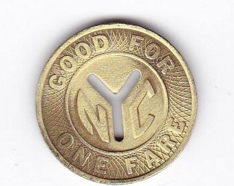 "NYC New York City Transit Authority Subway Token - Large Cut Out ""Y"" 1970-1980"