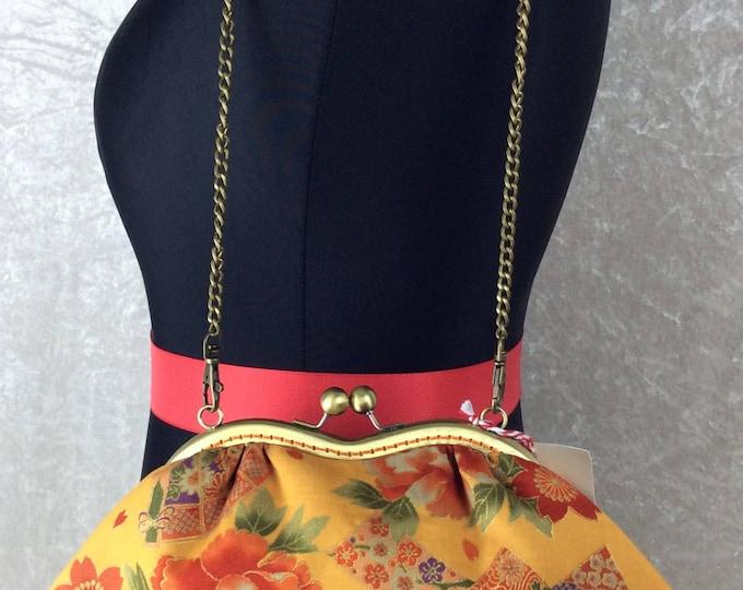 Oriental Fan and Flowers Grace bag purse handbag clutch fabric handmade in England