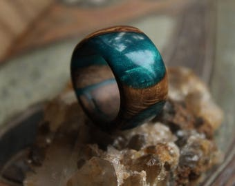 teal ring resin wood ring personalized ring teal jewelry custom ring for girlfriend gift for her organic ring nature ring for men eco gift