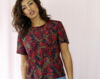 Vintage blouse Size 12 90's Tops for women Vintage Clothing 90's blouse Retro Print Blouse Small Medium Tops and Tees
