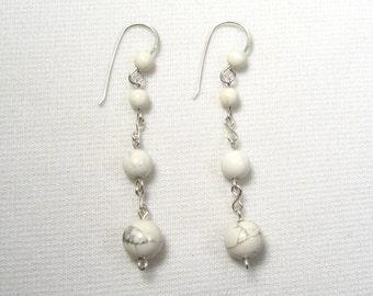 Lyn's Jewelry White Howlite Drop Earrings Sterling Silver
