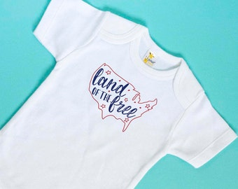 First Fourth of July - 4th of July Baby Girl Shirt - Fourth of July Baby Boy Top - Independence Day Bodysuit - Land of the Free