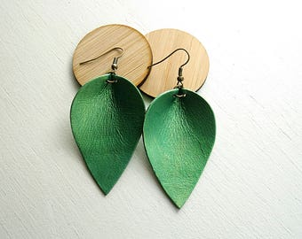 Metallic green leather teardrop leaf shaped earrings / lightweight earrings / boho / 3rd anniversary gift / joanna gaines inspired