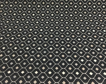 Black Silver Diamond  Fabric Chenille upholstery Fabric by the yard