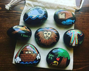 Story Stones and Painted Rocks! *Hand Painted Stones in a Drawstring Bag* Garden Markers-Magnets-Paperweights-Sensory-Collector