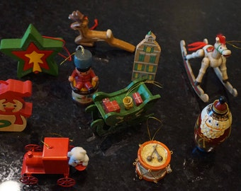 Collection of 10 Vintage Christmas Ornaments/ Wooden Ornaments/ Vintage Christmas