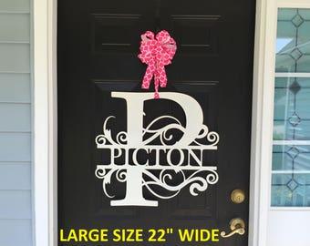 """22"""" wide LARGE Monogram Wreath, Front Door Wreath, Monogram Door Wreath. Metal Letter, Metal Surname Sign, Custom Name Sign, Front Door"""