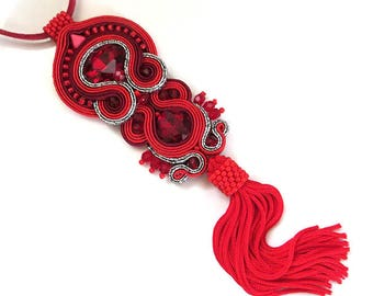 Red Soutache Necklace Pendant Red Bohemian Necklace Pendant, Bohemian Jewellery, Red Hippie Necklace Pendant, swarovski necklace