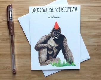 Harambe Birthday Card, RIP Harambe, Funny Birthday Card, Funny Memes, Dicks Out for Harambe, Birthday Card for BF, Bday Card Husband