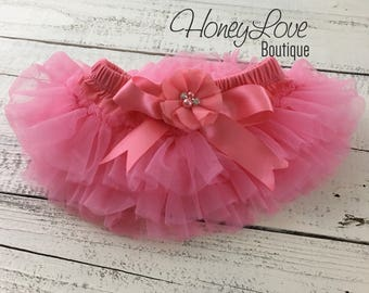 Coral Pink tutu skirt bloomers diaper cover, embellished rhinestone pearl flower, ruffles all around newborn infant toddler little baby girl