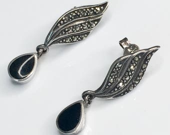Onyx marcasite vintage earrings, Beautiful sterling silver 20's style earrings