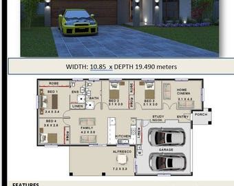 180m2 |Affordable Architecture Design & Home builders brochures House Plans |narrow lot| study|