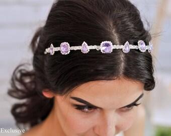 Crystal headpiece Wedding headpiece Bridal hair jewelry Bridal tiara Bridal crown silver Crystal tiara Crystal crown Violet headband