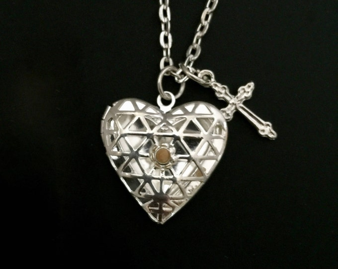 Silver heart photo locket with mustard seed center and cross on a silver link chain necklace, mustard seed necklace, Christian jewelry