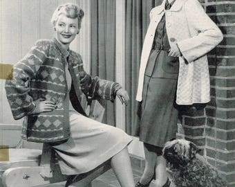 Vintage Knitting Pattern - Women's Sweater Coats from 1947 - PDF Downloadable - 40's 1940's ladies sweater, jacket, fair isle