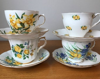 Mismatched Tea Cups and Saucers, Vintage Tea Set, Yellow and Blue Flower Teacups and Saucers, Bone China