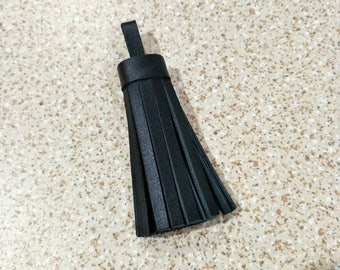 "3"" (7.5 cm.) Long, Black Leather Tassel,Leather Tassel Charm, Leather Tassel Keychains,Tassel Bag Charm, Leather Accessories."