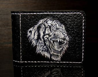 Hand-tooled leather wallet, tiger wallet, tooled wallet, men wallet,  black leather wallet, custom wallet,  mens gift