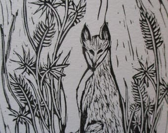 Handmade Block Print Fox Cards Set of 3--Vulpine with Lupines
