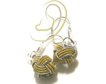 Miniature Hand Woven Bead Earrings, Gold and Silver Dainty Earrings, Friendship Gift, First Earring Gift, Gal pal gift, Free Local Shipping