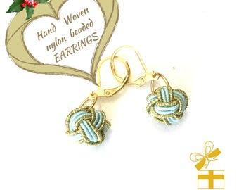 Mint Hand Woven Beaded Earrings, Miniature Gold Drop Earrings, On Trend Style Earrings, Dainty and Cute Day Time Earrings, Ageless Earrings