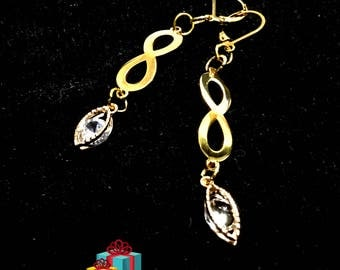 Long Cubic Zirconia Floating Drop Earrings, On Trend  Earrings, Gold Infinity Earrings, Long Gold Earrings, Stylish Gift,Gift for Her