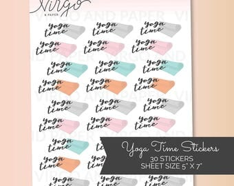 Yoga Mat Hand Drawn Planner Stickers - Yoga Time, Yoga Girl, Yoga Planner Stickers - Choose Matte or Glossy Planner Stickers RYM