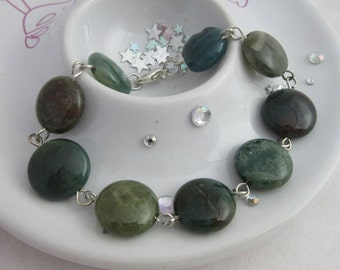 Green Indian Agate Forest Bracelet with Silver Plated Links and Clasp.