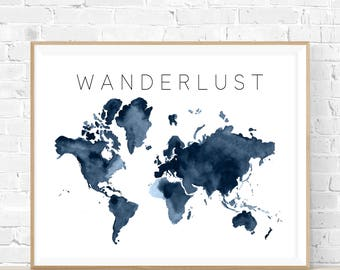 "8x10 ""Wanderlust"" + Navy Watercolor World Map Printable and Instant Download"