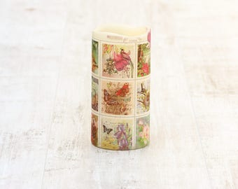 Pillar Candle with Botanical Print, LED Flameless Candle with Floral Print, Mothers Day Gift for Her, Whimsical Home Decor