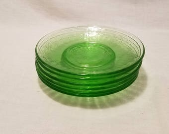 "GREEN DEPRESSION SAUCERS Hazel Atlas Fruits Pattern Cherries Grapes Pears Uranium Vaseline Glass 5-1/2"" set of 6 Collectible Vintage"